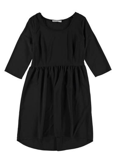 Caramel Kısa Kollu Beli Büzgülü Elbise Siyah
